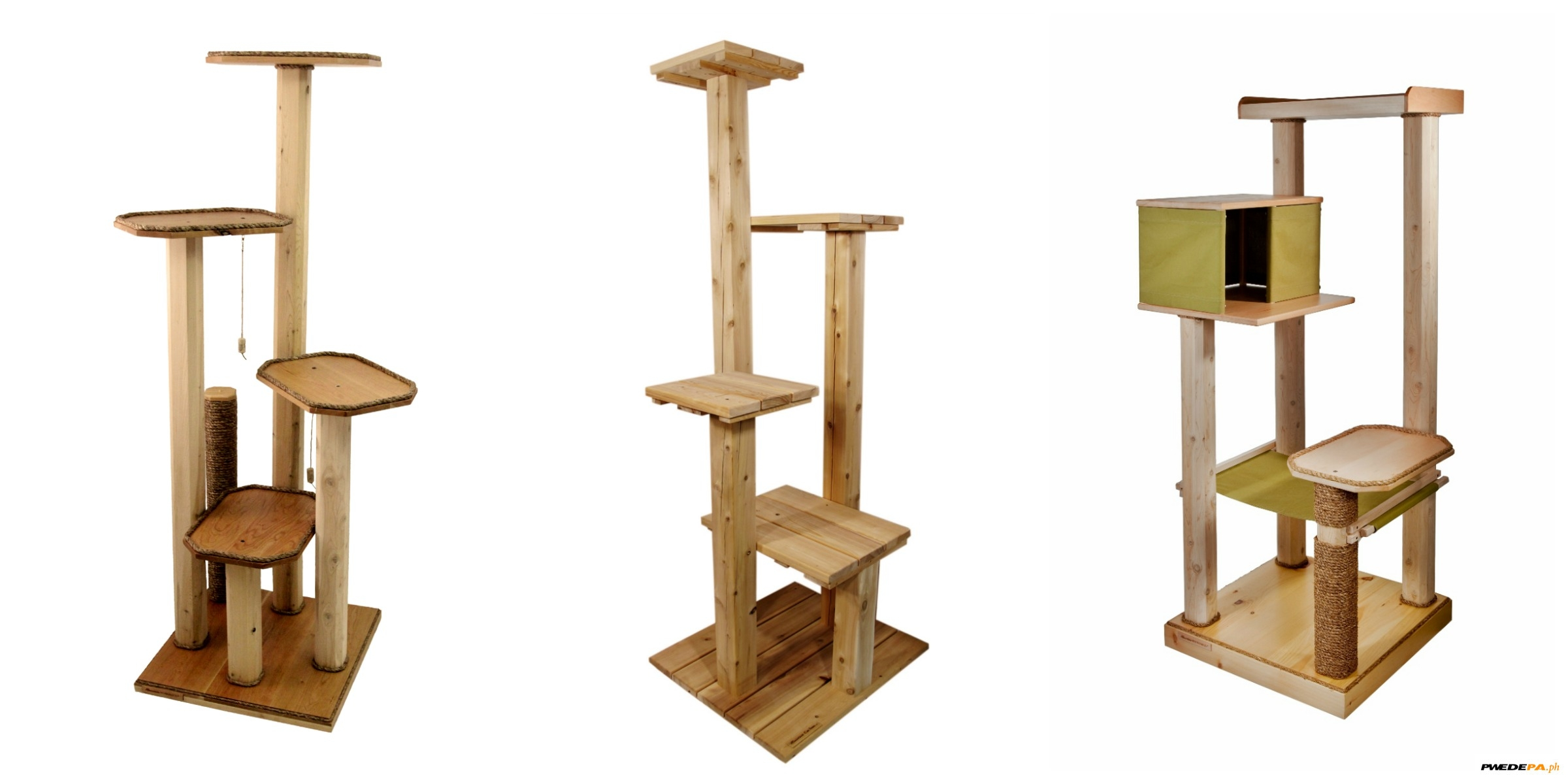 Customize design wood cat tower or cat condo for pets for Wooden cat tree designs